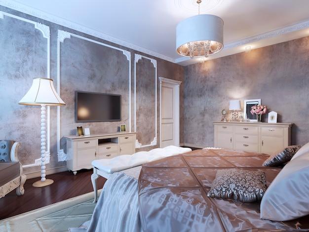 Slaapkamer met donker behang in klassieke stijl met luxe meubelen