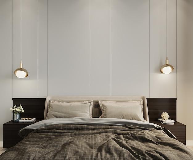 Slaapkamer met een bed en lampen voor de lege muur, 3d render, slaapkamer mockup, slaapkamer muur mockup