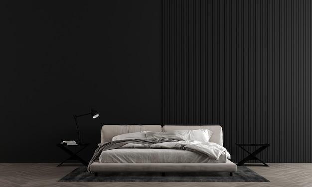 Slaapkamer met zwarte muur heeft een modern bed en decoratie, mock-up interieur, 3d-rendering