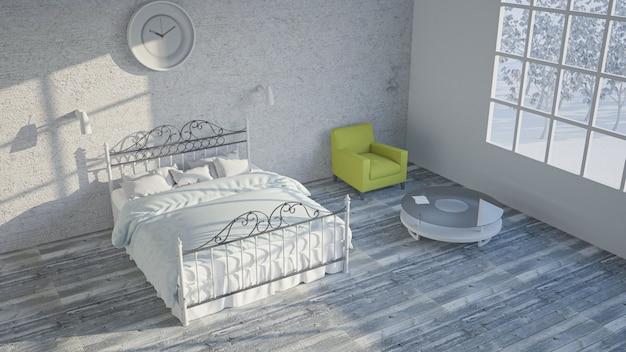 Slaapkamer visualisatie. 3d-afbeelding