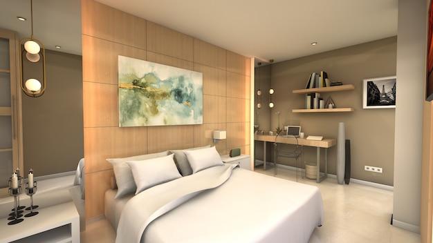 Slaapkamer voor elegant hotel.