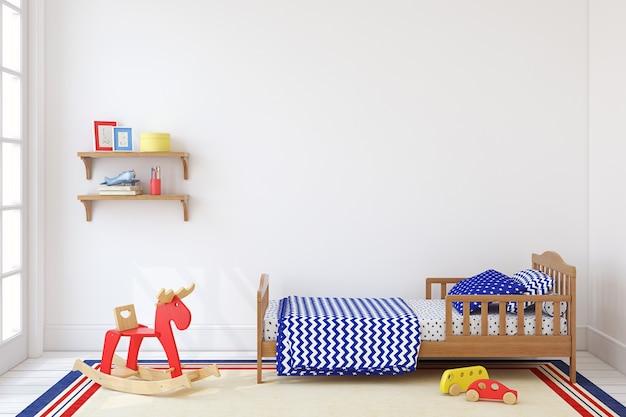 Slaapkamer voor jongen. interieur mock-up. 3d render.