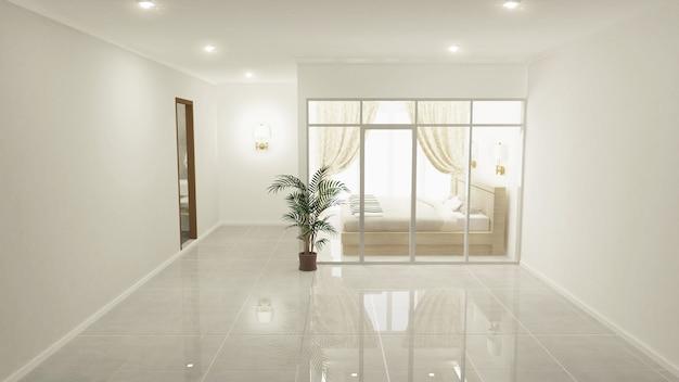 Slaapkamer witte klassieke slaapkamer op vloertegels graniet. 3d-rendering