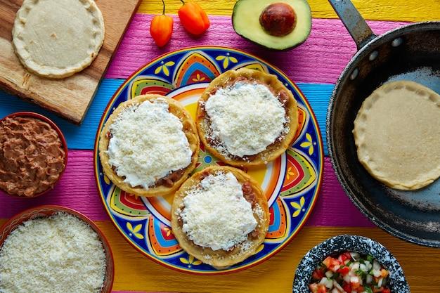 Slaat met de hand gemaakt mexicaans traditioneel voedsel