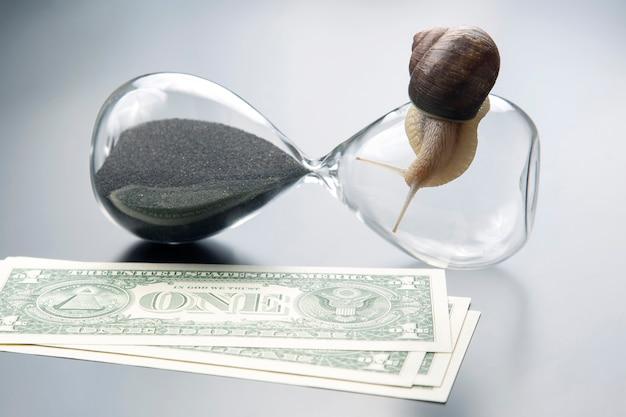Slak kruipt op een zandloper tegen de oppervlakte van geld. snelheid en stabiliteit bij het verhogen van het inkomen.