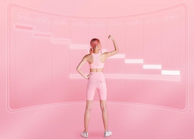Slanke, gezonde yoga-fitnessvrouw draait het achteraanzicht en stelt het doel in projectieplanschema voor training en training om spieren op te bouwen in weektijd. meisjesstandaard over de volledige lengte in roze pasteltint
