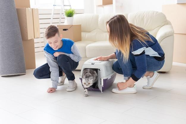 Slanke jonge moeder en zoontje lanceren hun prachtige grijze scottish fold-kat in hun nieuwe huis