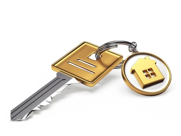 Sleutel en ronde sleutelhanger met huisje