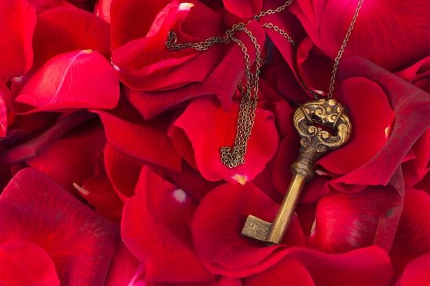 Sleutel met karmozijnrode rozenblaadjes als symbool van liefde