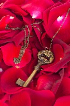 Sleutel met rode rozenblaadjes als symbool van liefde