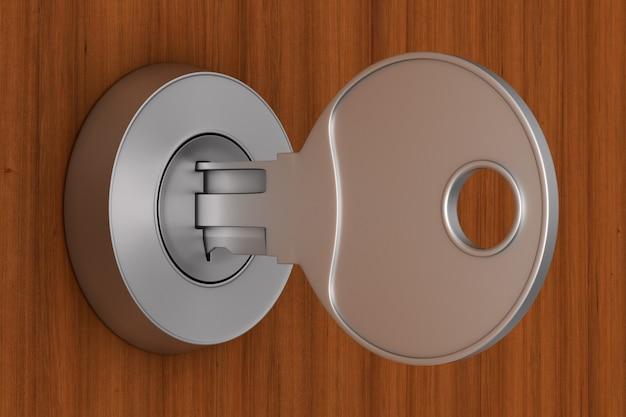 Sleutel op houten achtergrond. 3d-afbeelding