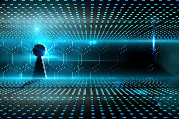 Sleutelgat op technologische gloeiende achtergrond