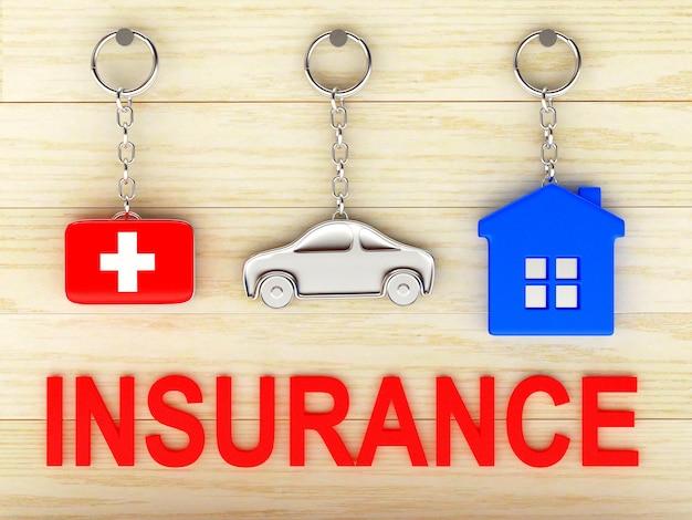 Sleutelhangers huis, auto en medische koffer met het woord verzekering