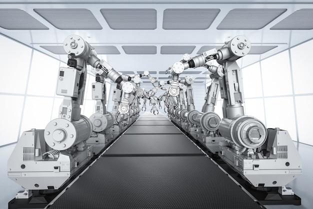 Slim fabrieksconcept met 3d-rendering robotarmen met transportlijn