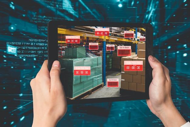 Slim magazijnbeheersysteem met behulp van augmented reality-technologie Premium Foto