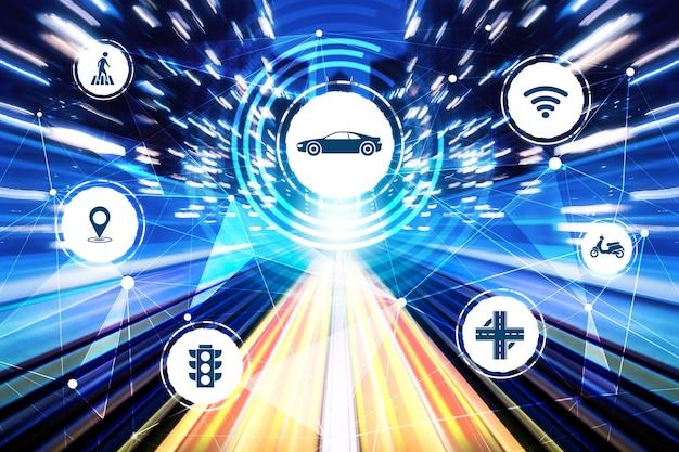 Slim transporttechnologieconcept voor toekomstig autoverkeer op de weg Premium Foto