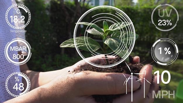 Slimme digitale landbouwtechnologie door futuristische verzameling van sensorgegevens Premium Foto