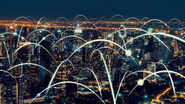Slimme digitale stad met globaliserings abstracte afbeelding die verbindingsnetwerk toont Premium Foto