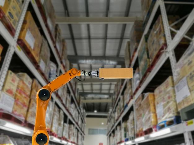 Slimme robotindustrie armproducten opslagfabriek en magazijn