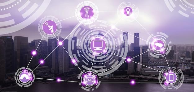 Slimme stadshorizon met pictogrammen van het draadloze communicatienetwerk. concept van iot internet van dingen.