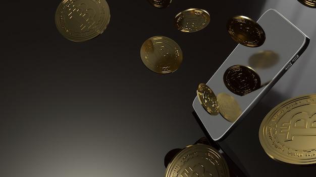 Slimme telefoon en bitcoin het 3d teruggeven voor bedrijfsconcept.