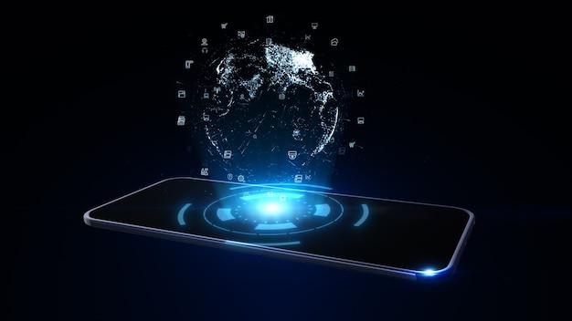 Slimme telefoon met digitaal aardebolhologram. netwerk wereldwijd connection concept. 3d-weergave