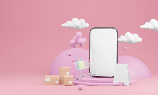 Slimme telefoon met leeg scherm, dozen en een winkelwagentje met wolken in de rug op roze achtergrond