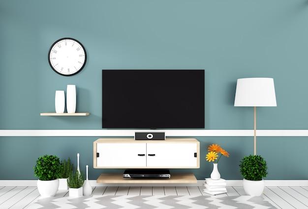 Slimme tv met het lege scherm hangen op de muurmunt op wit houten vloermodel