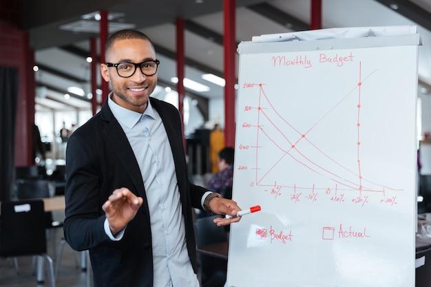 Slimme zakenman die maandelijks budget presenteert met behulp van flipchart