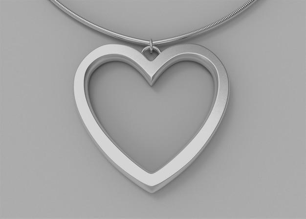 Sliver hartvorm ketting op grijze achtergrond.