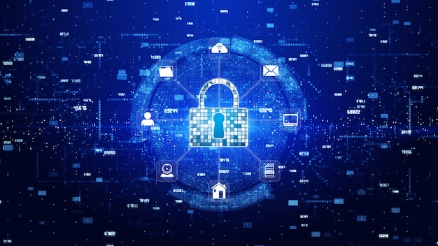 Slotpictogram cyberbeveiliging, digitale datanetwerkbescherming, toekomstig technologienetwerkconcept.