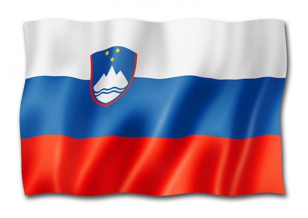Sloveense vlag die op wit wordt geïsoleerd
