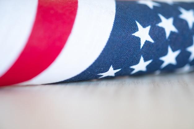 Sluit omhoog amerikaanse vlag. memorial day of 4 juli.