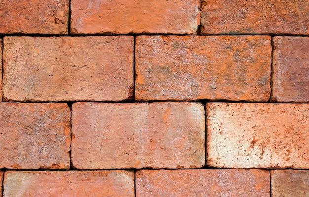 Sluit omhoog bakstenen muurtextuur en rode baksteenachtergrond met exemplaarruimte