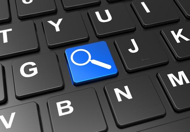 Sluit omhoog blauwe knoop met vergrootgladerteken op zwart toetsenbord