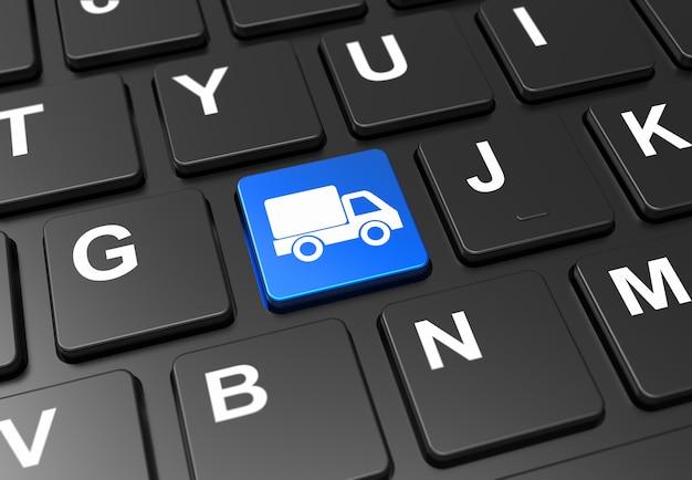 Sluit omhoog blauwe knoop met verschepend vrachtwagenteken op zwart toetsenbord
