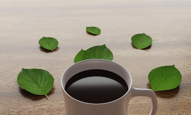 Sluit omhoog coffekop met groene bladeren op lijst