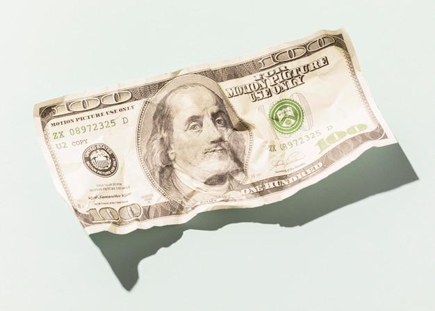 Sluit omhoog dollarrekening met exemplaarruimte