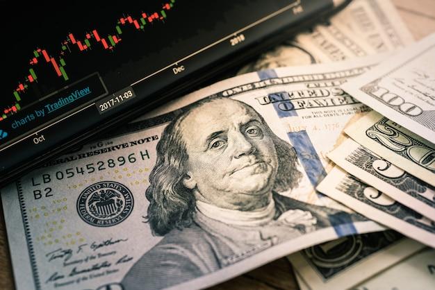 Sluit omhoog dollarsrekening door grafiek