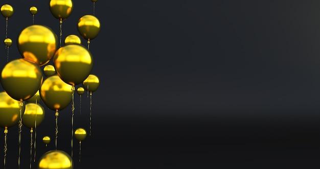 Sluit omhoog en samenvatting van 3d gouden 3d ballons, geef terug, ballons die op achtergrond worden geïsoleerd.
