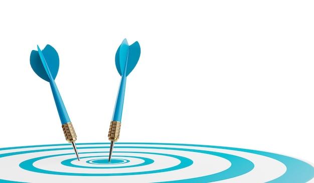 Sluit omhoog geschoten blauwe pijltjespijlen in het doelcentrum. bedrijfsdoel of doelsucces en winnaarconcept. 3d-afbeelding