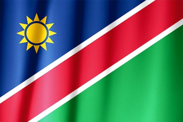 Sluit omhoog geschoten van golvende namibische vlag