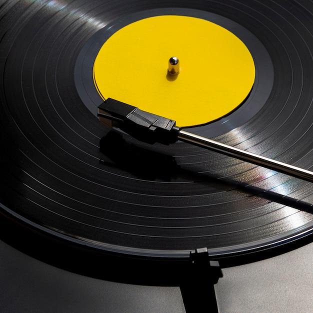 Sluit omhoog geschotene vinylverslagschijf