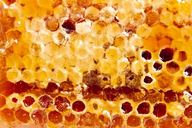 Sluit omhoog gouden natuurlijke honingraat
