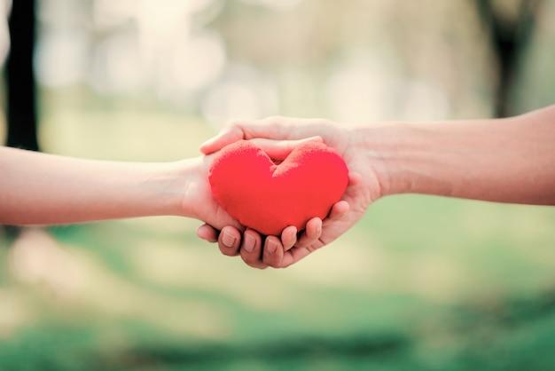 Sluit omhoog handen geef en houd rood hart