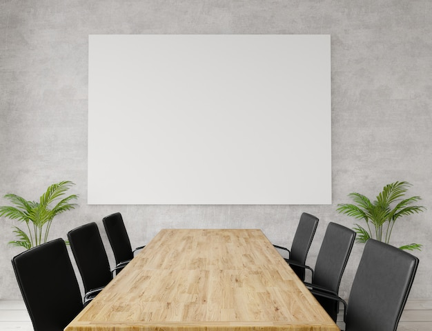 Sluit omhoog lege vergaderzaal met stoelen, houten lijst, concrete muur