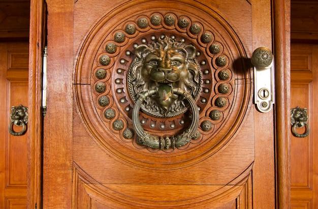Sluit omhoog mening van een mooie gedetailleerde deurknop in de vorm van een leeuw.