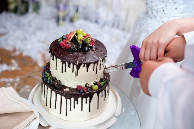 Sluit omhoog op bruid en bruidegom die de cake snijden