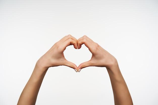Sluit omhoog op de handen van het mooie wijfje die hartteken samen vouwen