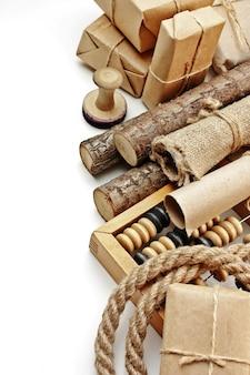 Sluit omhoog op diverse geïsoleerde verpakkingselementen